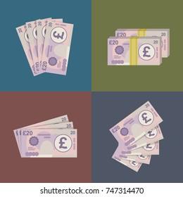 20 Pound sterling banknotes design. Vector Illustration.