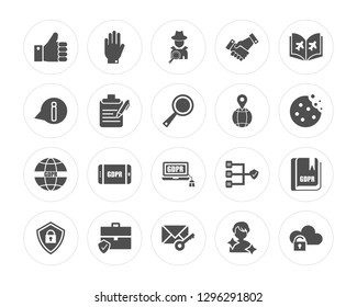 20 Right to objection, Letter, Portfolio, Shield, Plain, Address, GDPR, Consent modern icons on round shapes, vector illustration, eps10, trendy icon set.