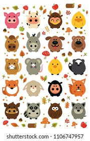 20 rounded chubby and cute forest and farm animals 100% vector flat file