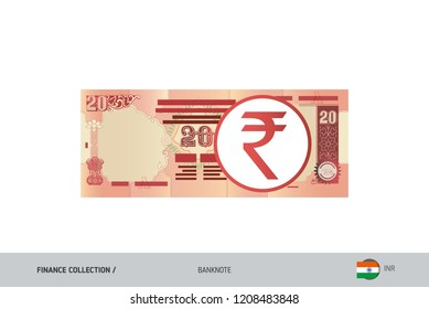 20 Rupee Banknote. Flat style highly detailed vector illustration. Isolated on white background. Suitable for print materials, web design, mobile app and infographics.