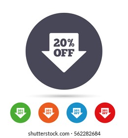 20% sale arrow tag sign icon. Discount symbol. Special offer label. Round colourful buttons with flat icons. Vector