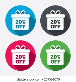 20% sale gift box tag sign icon. Discount symbol. Special offer label. Circle buttons with long shadow. 4 icons set. Vector