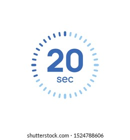 20 second timer clock. 20 sec stopwatch icon countdown time digital stop chronometer.