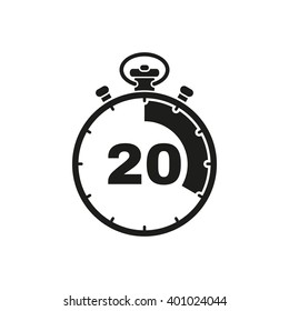 The 20 seconds, minutes stopwatch icon. Clock and watch, timer, countdown symbol. UI. Web. Logo. Sign. Flat design. App. Stock vector