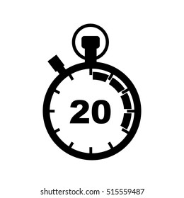 The 20 seconds, minutes stopwatch icon. Clock and watch, timer, countdown symbol.