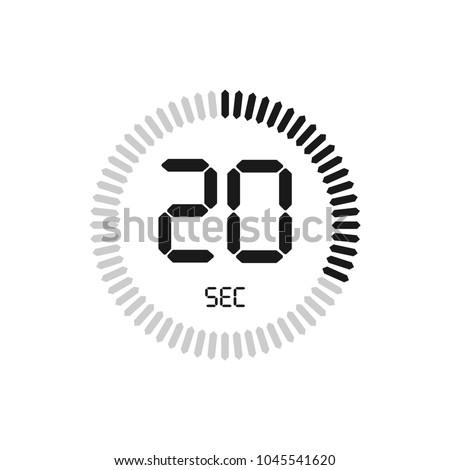 20 seconds stopwatch vector icon digital stock vector royalty free
