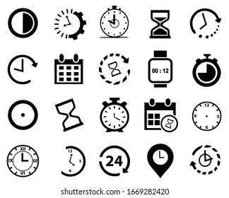 20 Set  Ilustration of times icon vector,  clock collection, modern and fresh design