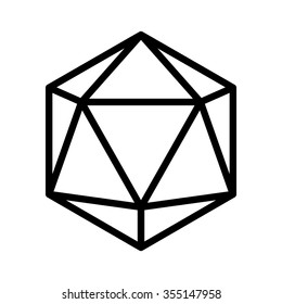 20 sided / 20d dice line art vector icon for apps and websites