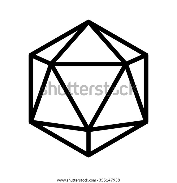 20 Sided 20d Dice Line Art Stock Vector (Royalty Free) 355147958