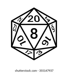 20 sided / 20d dice with numbers line art vector icon for apps and websites
