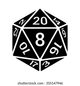 20 sided / 20d dice with numbers flat vector icon for apps and websites