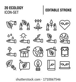 20 Simple Set of Ecology Related Vector Line Icons