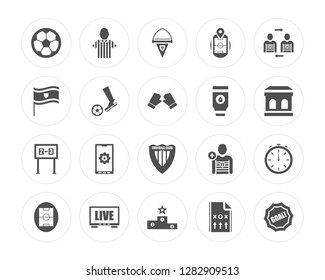 20 Soccer ball, Referee, Podium, Television, field, Player substitution, Tumbler, Football club, Scoreboard modern icons on round shapes, vector illustration, eps10, trendy icon set.