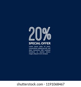 20% special offer minimalist concept