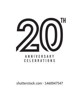 20 Th Anniversary Celebration Vector Template Design Illustration