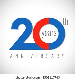 20 th anniversary numbers. 20 years old multicolored logotype. Age congrats, congratulation art idea. Isolated abstract graphic design template. Coloured 2, 0 digits. Up to 20% off discount.
