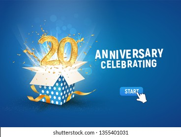 20 th years anniversary banner with open burst gift box. Template twentieth birthday celebration and abstract text on blue background vector illustration