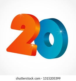 20 th years old congrats. Isolated abstract colored graphic design template. Up to 20 or -20 % off logotype. Round shape 0. Red 2 and blue null flying digits. Discount emblem on white background.