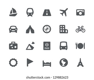 20 Traveling and transport simple icons