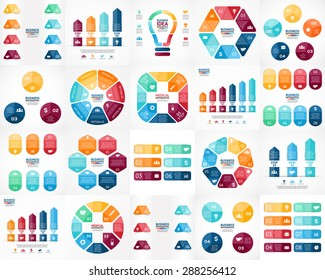 20 vector color infographics. Templates set for cycle diagram, graph, presentation and round chart. Business startup concept with 3, 4, 5, 6, 7, 8 options, parts, steps, processes. Arrows info graphic