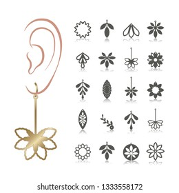 20 vector designs of earring. Cutout silhouette with floral pattern. Template is suitable for creating fashion & charm women jewellery: earrings, necklace or bracelet.