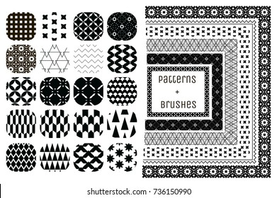20 Vector Geometric Patterns and 6 Pattern Brushes