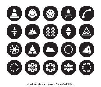 20 vector icon set : cone, Star of six points, ornament small triangles, Synergy, Closed Curve, Triangles couple, Trapezium isolated on black background