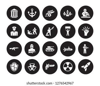20 vector icon set : federal agency, Nuclear, Pistol, radiation, Shield, guerrilla, Revolt, Tank, Kalashnikov, Assault, artillery isolated on black background