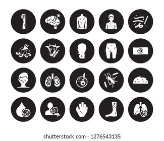 20 vector icon set : Lymphoma, Kuru, Kwashiorkor, Laryngitis, Lead poisoning, Lupus, Limbtoosa, Leprosy, Leukemia, Loiasis, Lyme disease isolated on black background