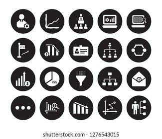 20 vector icon set : Management, Depleting chart, Diagram, Dollar analysis bars, Dot, Laptop Profits Graphics, Hierarchy, Funneling Data, Growth, Increasing stocks isolated on black background
