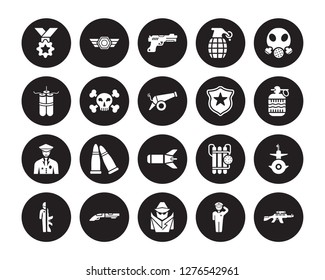 20 vector icon set : Medal, Salute, secret agent, Shotgun, Soldiers and a weapon, Gas mask, Badge, Torpedo, Veteran, Dead, Gun isolated on black background
