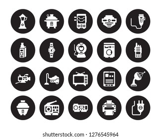 20 vector icon set : percolator, Printer, Projector, Radio, Rice cooker, trimmer, Washing machine, Television, Video camera, Wristwatch, rotisserie isolated on black background