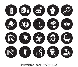20 vector icon set : pump bottle, beardy, body odour, shaming, dolled up, parasite, powder, face towel, grooming, varnish, cream isolated on black background