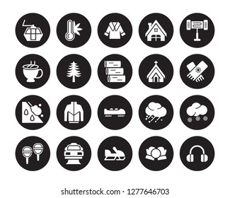 20 vector icon set : Ski lift, Snow ball, Snowmobile, Snowplow, Snowshoes, Electric heater, Chapel, Bobsled, Avalanche, Fir, Fur coat isolated on black background