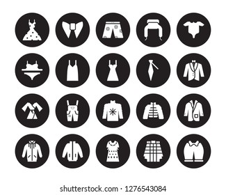 20 vector icon set : vintage dress, Kilt, Kaftan, windbreaker, jogging jacket, Baby Grow, Cravat, Fleece, Dressing Gown, Camisole, swim shorts isolated on black background