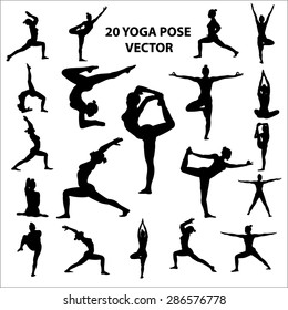 20 Vector icon of woman  silhouettes in yoga positions