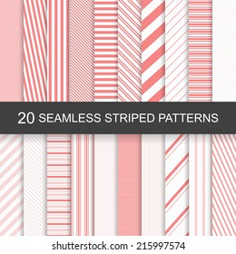 20 vector seamless striped patterns