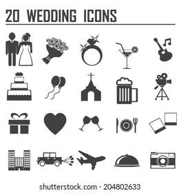 20 Wedding icon set