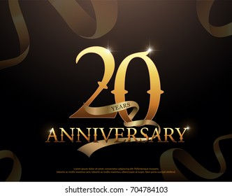 20 year anniversary celebration logotype template. 20th logo with ribbons on black background
