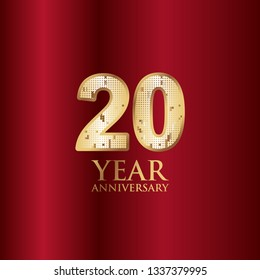 20 Year Anniversary Gold With Red Background Vector Template Design Illustration