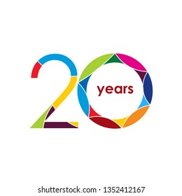 20 year Anniversary Logo Vector Template Design Illustration