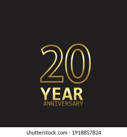 20 Year Anniversary Logo Vector Template Design Illustration gold and black