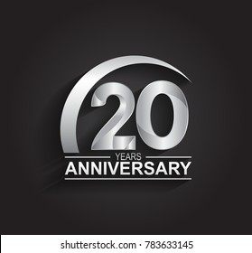 20 year anniversary logotype design with silver color isolated on black background for company celebration