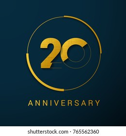 20 Year Anniversary Vector Logo Design Isolated on Dark Background