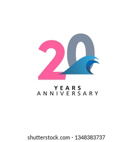 20 Year Anniversary Vector Template Design Illustration, with flat design.