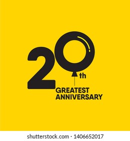 20 year anniversary vector template. Design for your celebration. Design for advertising, poster, banner or print.