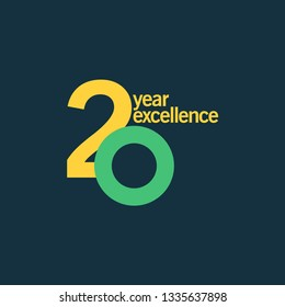 20 Year of Excellence Vector Template Design Illustration