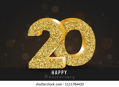 20 - year happy anniversary banner. 20th anniversary gold logo on dark background.