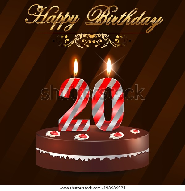 Pleasant 20 Year Happy Birthday Card Cake Stock Vector Royalty Free 198686921 Personalised Birthday Cards Veneteletsinfo