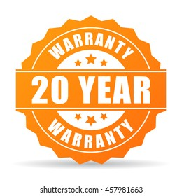 20 year warranty icon vector illustration isolated on white background